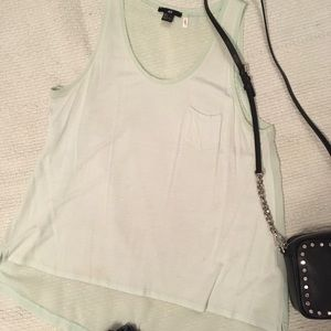 Mint green swing tank with cotton front sheer back
